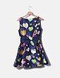 Vestido evasé azul print corazones Zidan
