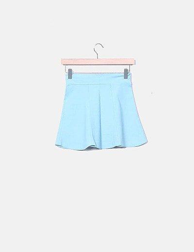 Mini falda evasé azul