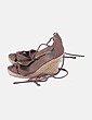 Sandalias cuña lace up marrón Suiteblanco