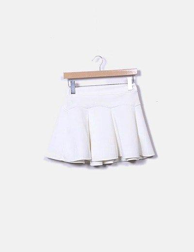 Mini falda evasé blanco