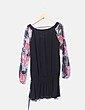 Vestido negro de gasa con estampado floral Desigual