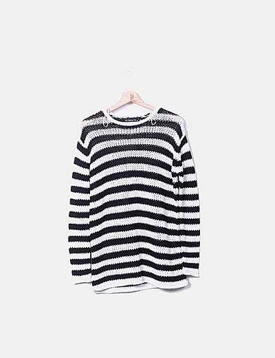 Jersey lana rayas blanco y negro