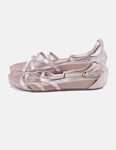 Sandalia beige glitter de tiras