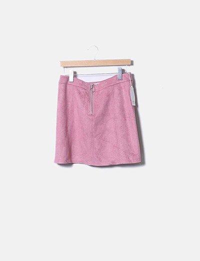 Mini falda antelina rosa