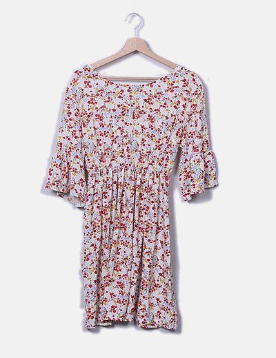 Vestido midi floral con lazo