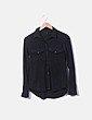 Camisa antelina negra Stradivarius