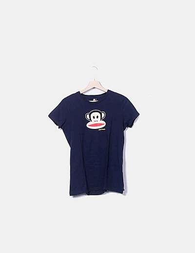 Camiseta azul marina con estampado