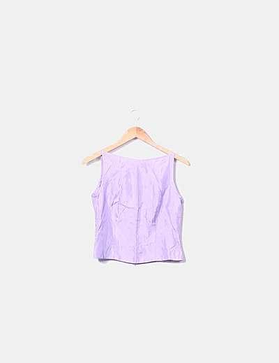Conjunto top y falda lila