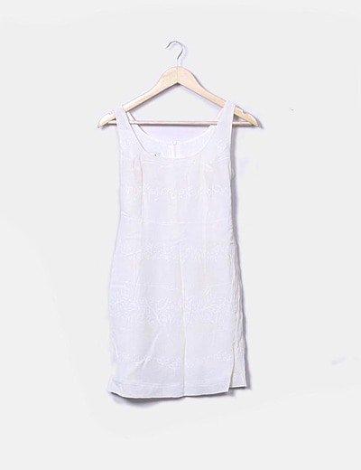 Vestido crudo con estampado en blanco