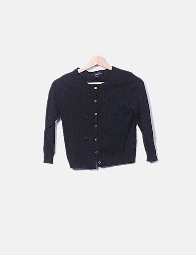 Jersey tricot negro botones