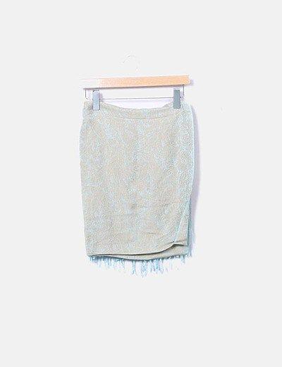 Pañuelo bicolor con flecos
