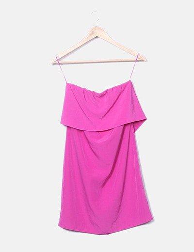 Vestido rosa satén volante