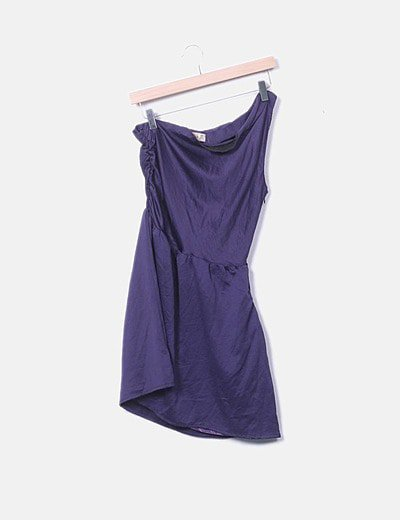 Vestido satén azul marino asimétrico
