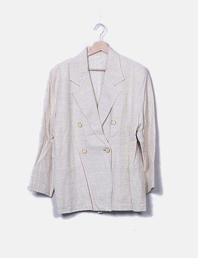 Traje beige jaspeado de falda y chaqueta