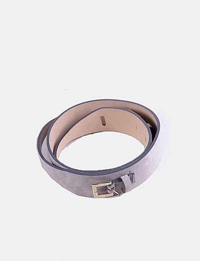 Cinturón gris hebilla