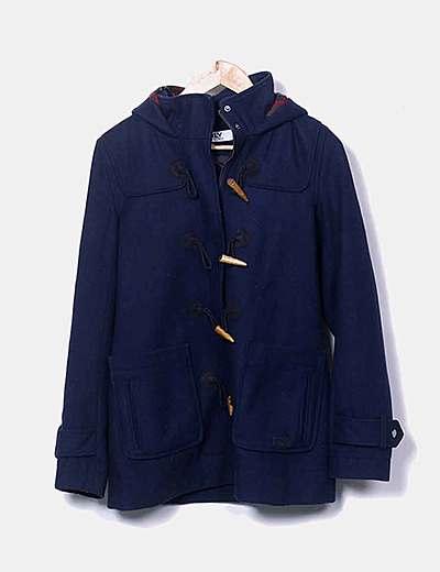 Abrigo azul marino capucha cuadros