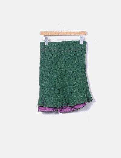Falda verde costura morada