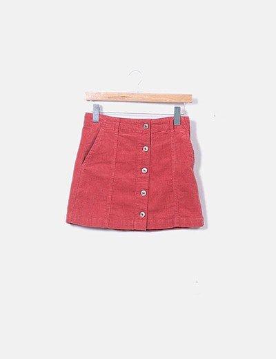 Mini falda pana roja