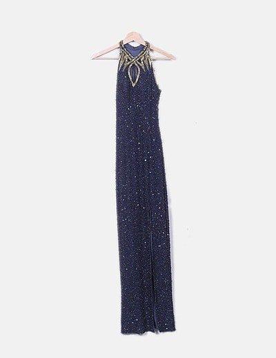 Vestido largo azul marino de abalorios