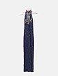 Vestido largo azul marino de abalorios Alyce design