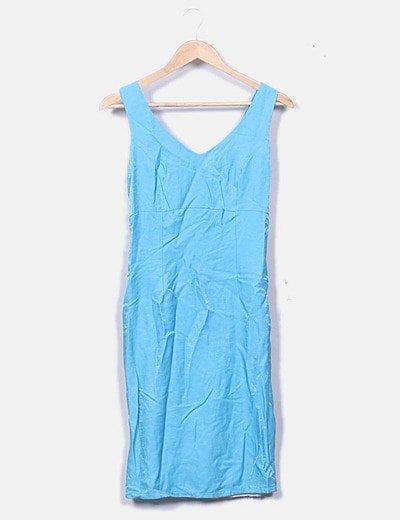 Conjunto vestido y blazer azul