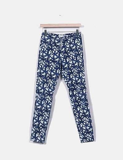 Jeans azules print palmeras