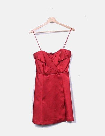 Rojo Vestido Escote Rojo Satinado Corazón Vestido Escote Satinado Corazón 54jRAL