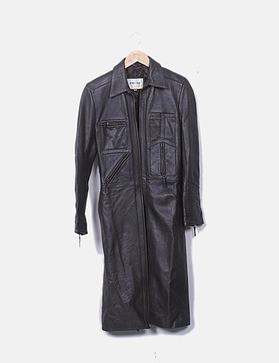Abrigo largo marrón de cuero