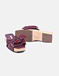 Sandalia de madera lazo granate Uterqüe
