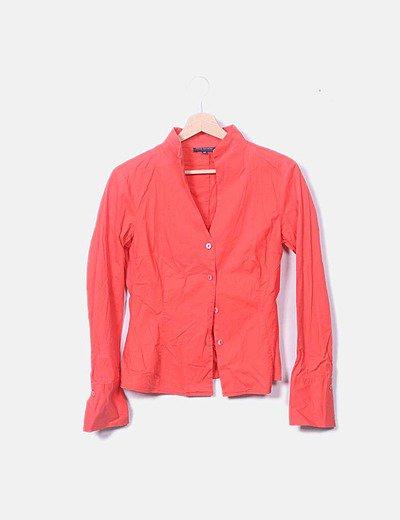 Camisa coral cuello V