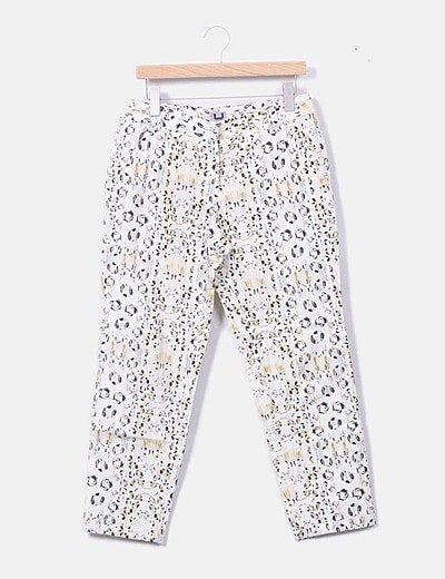 Pantalón chino beige estampado