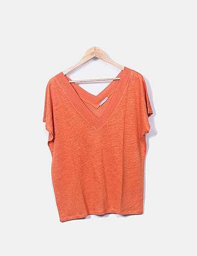 Camiseta tricot naranja escote pico