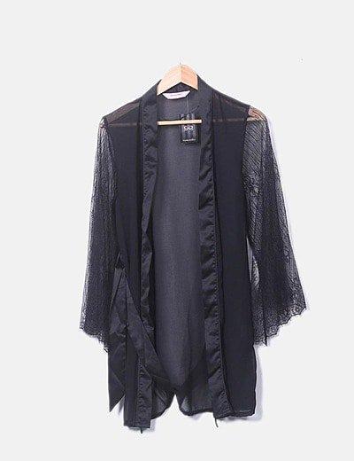 Kimono lencero encaje negro