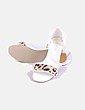 Sandalia blanca tira animal print Buroch