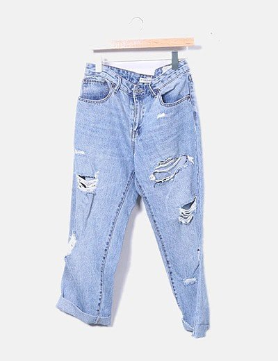 Jeans mom fit ripped detalle cuadros