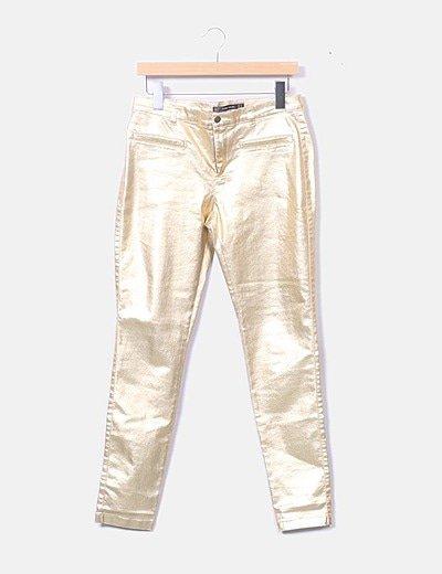 Zara Pantalon Pitillo Dorado Descuento 68 Micolet