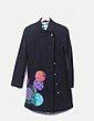 Abrigo largo negro con bordado Desigual
