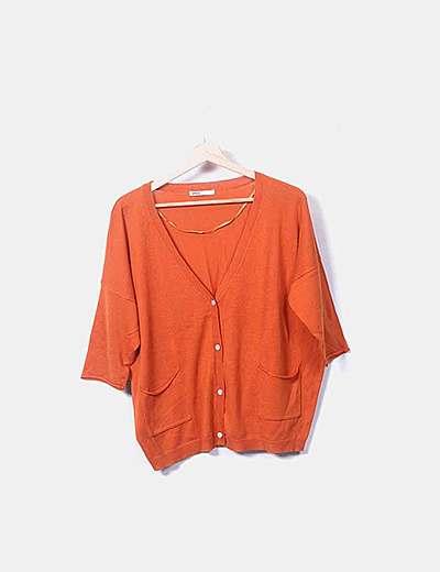Chaqueta naranja tricot