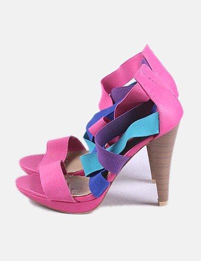 Sandalia de tacón multicolor