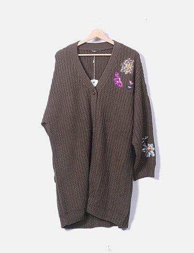 Cardigan tricot con pailettes