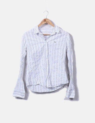 Camisa blanca rayas azules