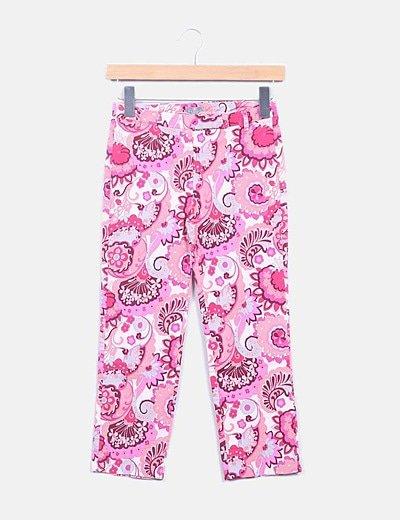 Pantalón pirata rosa print