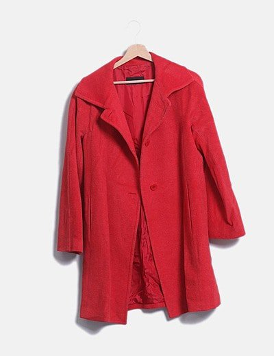 Abrigo largo paño rojo