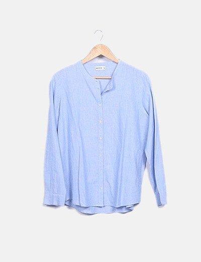 Camisa cuello mao azul