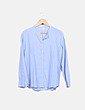 Camisa cuello mao azul Brownie