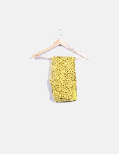Foulard amarillo estampado floral