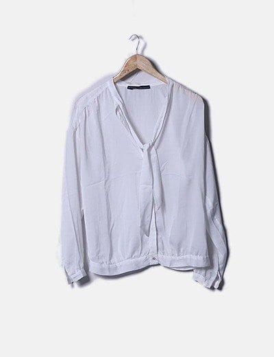 Blusa seda blanca lace up