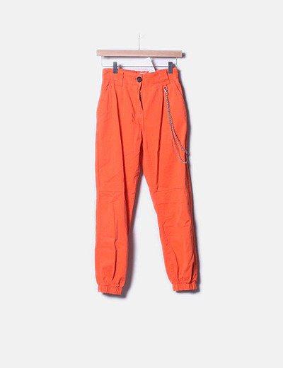 Bershka Pantalon Jogger Utility Naranja Pantone Descuento 22 Micolet