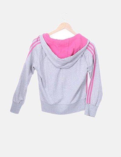 pakistaní Mal humor Disminución  Adidas Sudadera gris y rosa con capucha (descuento 60 %) - Micolet