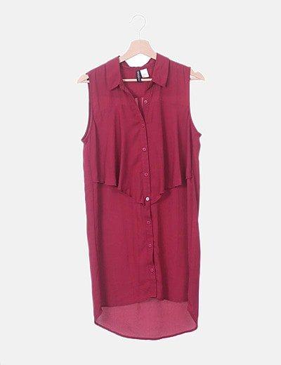 Vestido camisero vino sin mangas